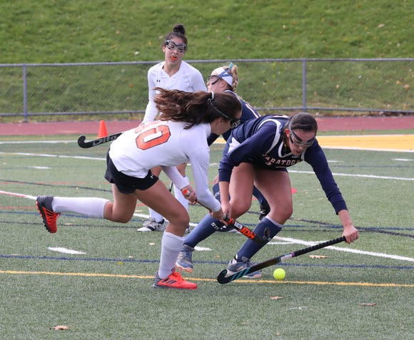 Mamaroneck's Lanie Pearson in action against Saratoga during their regional field hockey game at Lakeland High School, Nov. 3, 2018.