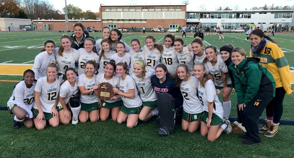 The Lakeland team pose for a group photo after defeating Burnt Hills 1-0, during their regional field hockey game at Lakeland High School, Nov. 3, 2018.