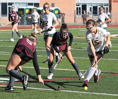 Lakeland's Cara O'Shea moves the ball against Burnt Hills during their regional field hockey game at Lakeland High School, Nov. 3, 2018.