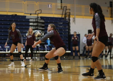 Valhalla's Linda Rossi (16) pulls in a dig during their 3-1 win over Haldane in the girls class C volleyball section finals at Pace University in Pleasantville on Saturday, November 3, 2018.