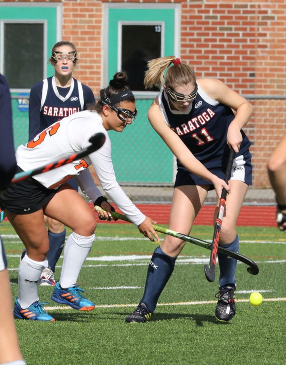 Mamaroneck's Sophia Kerstholt in action against Saratoga during their regional field hockey game at Lakeland High School, Nov. 3, 2018.