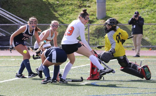 Mamaroneck's Caitlin Rogoff follows the action of the ball, during action against Saratoga during their regional field hockey game at Lakeland High School, Nov. 3, 2018.