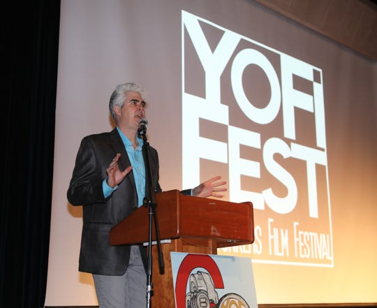 Dave Steck, the executive director of YoFi Fest, welcomes guests to the opening night premiere of the 6th Annual YoFi Fest Film Festival at the Atrium Theater at the Riverfront Library in Yonkers, Nov. 2, 2018. The festival runs until Nov. 11, 2018. For more information, go to YoFiFest.com.