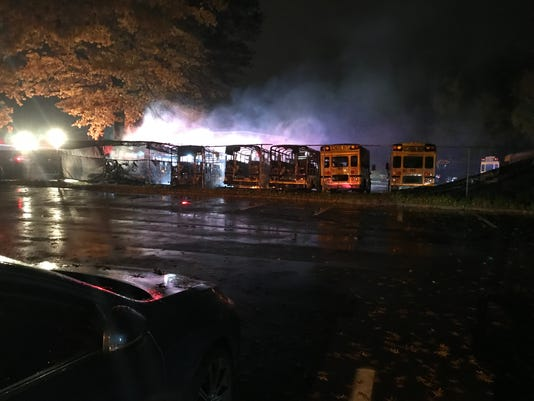 Bus fire at Byram Hills district lot