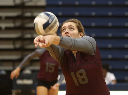 Valhalla's Stephanie Sicilian (18) connects with a pass during their 3-1 win over Haldane in the girls class C volleyball section finals at Pace University in Pleasantville on Saturday, November 3, 2018.