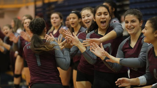 Valhalla defeats Haldane 3-1 in the girls class C volleyball section finals to claim their first volleyball Section title at Pace University in Pleasantville on Saturday, November 3, 2018.
