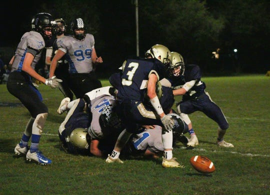 The ball comes loose following a pile-up on the tail end of a Wichita Christian run. Notre Dame's Wyatt Cuba recovered the fumble. Cuba also had 47 receiving yards and a touchdown.