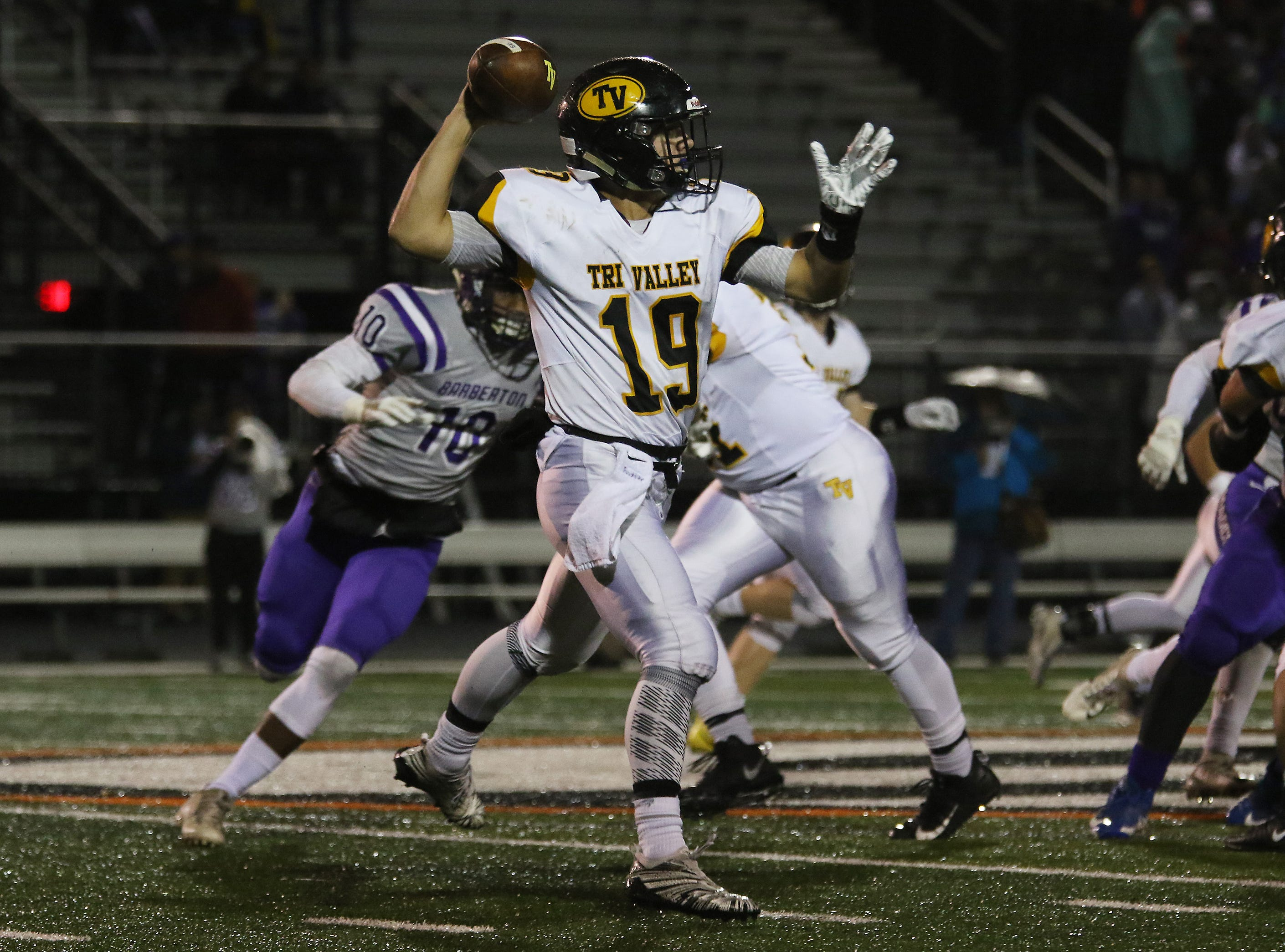Tri-Valley's Aiden Fritter readies a throw against Barberton.