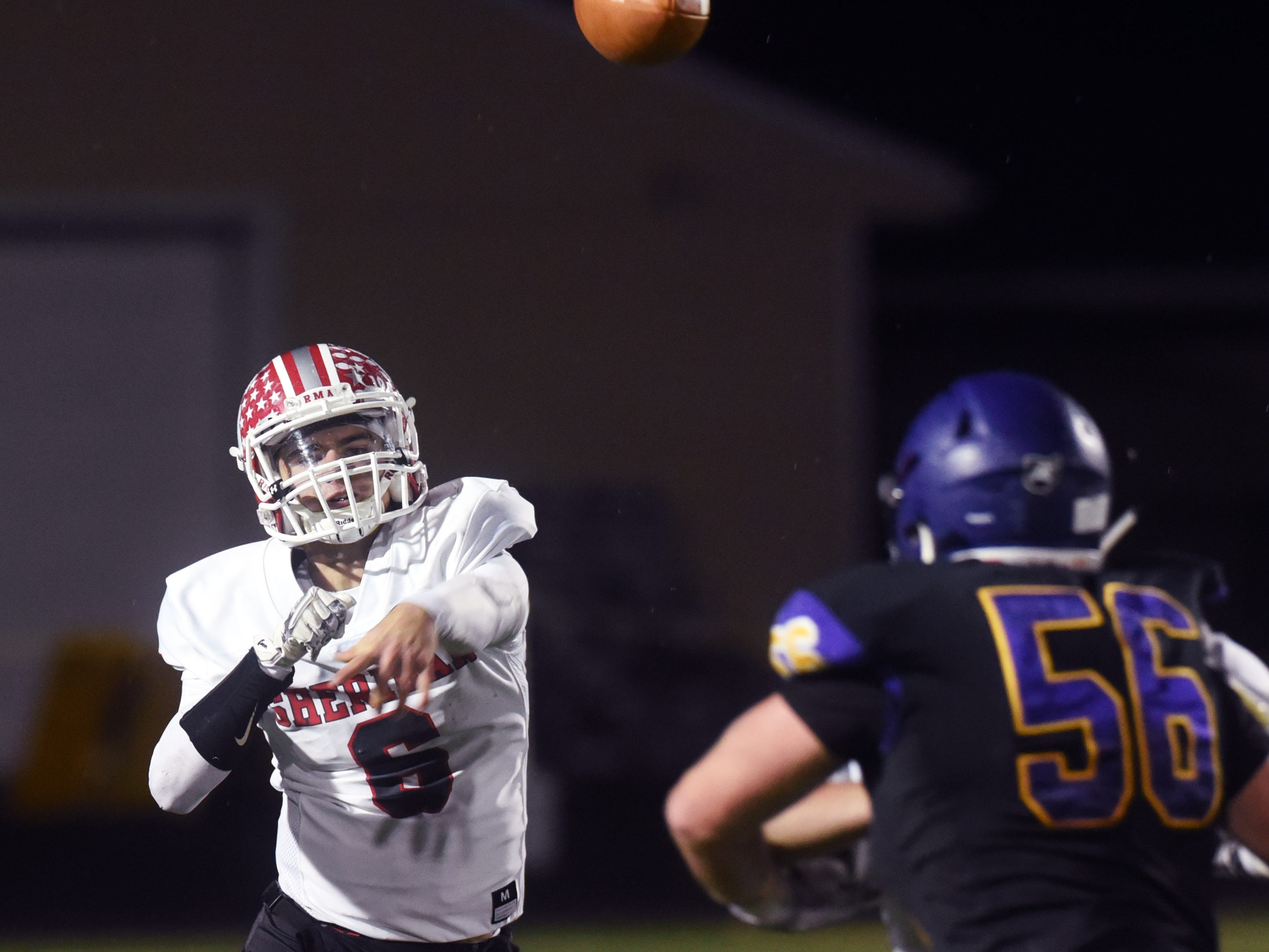 Etjhan Heller throws the ball during Sheridan's 27-19 win against No. 2 ranked Bellbrook in a Division III, Region 11 quarterfinal on Friday at Miami Valley South Stadium.