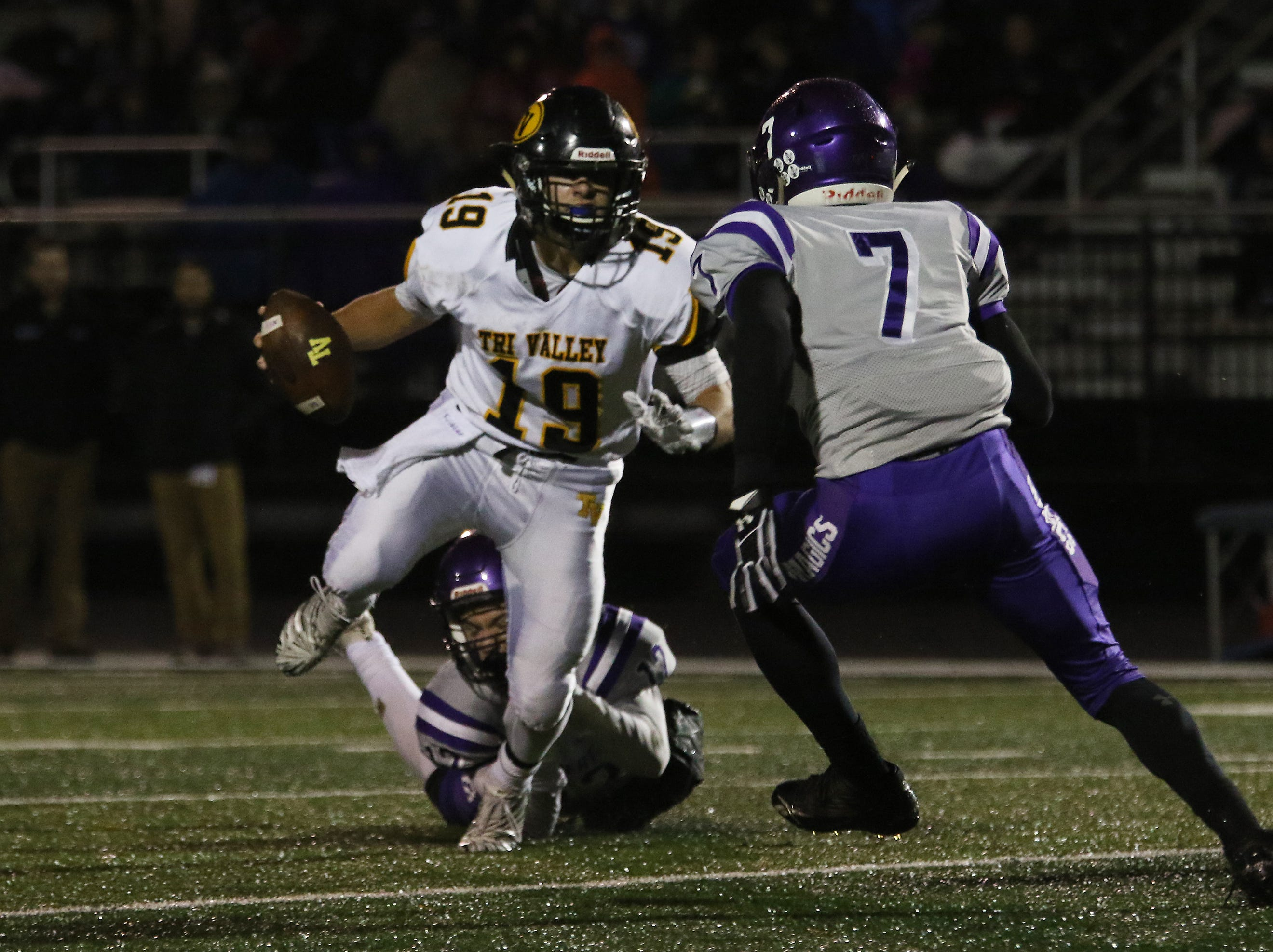 Tri-Valley's Aiden Fritter eludes a Barberton defener.