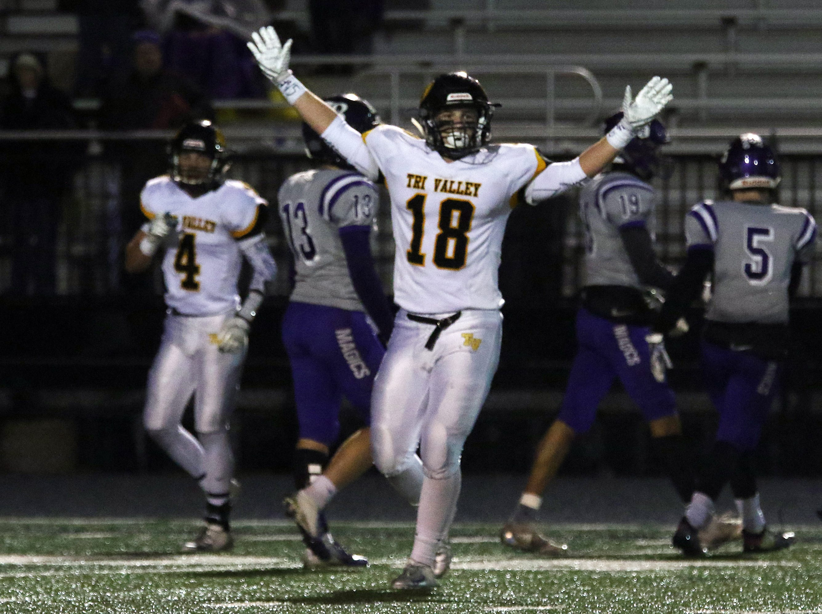Tri-Valley's Cy Burkhart raises his arms after Tri-Valley stopped Barberton's final drive.