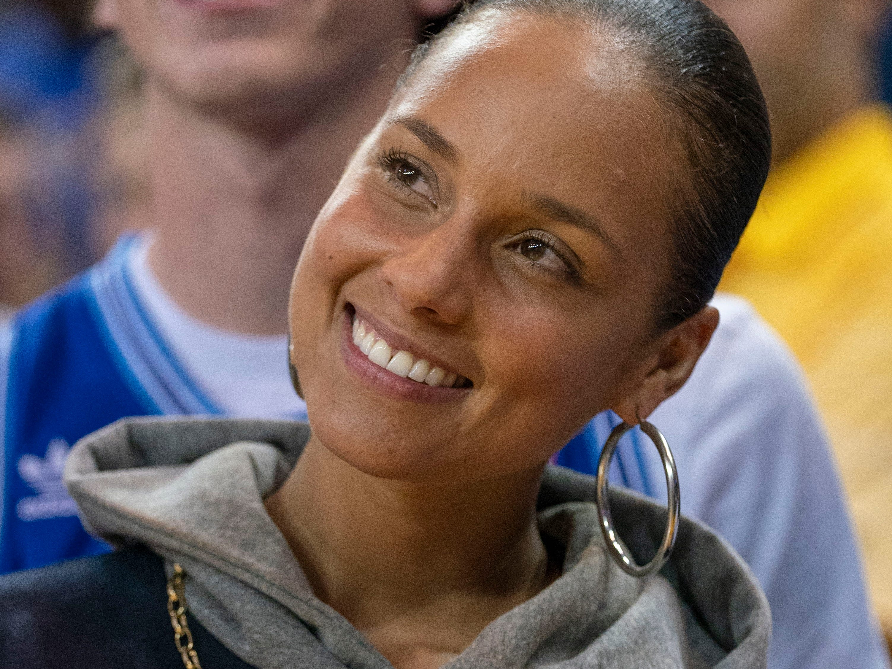 Nov. 2: Grammy Award winner Alicia Keys takes in the Warriors-T'wolves game at Oracle Arena in Oakland.