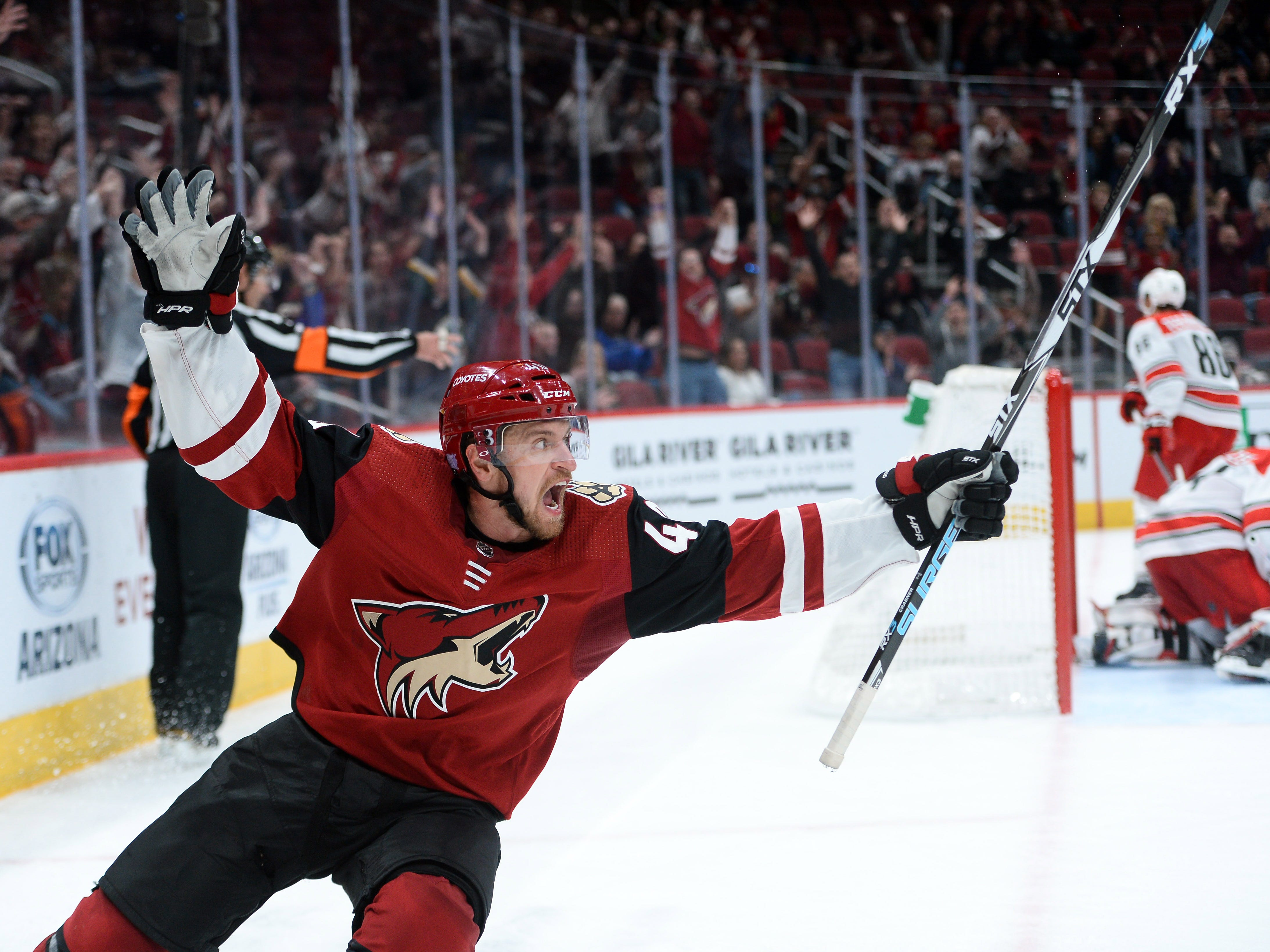 Nov. 2: Arizona Coyotes right wing Michael Grabner celebrates after scoring the game-winning goal against the Arizona Coyotes during the overtime period at Gila River Arena. The Coyotes won the game, 4-3.