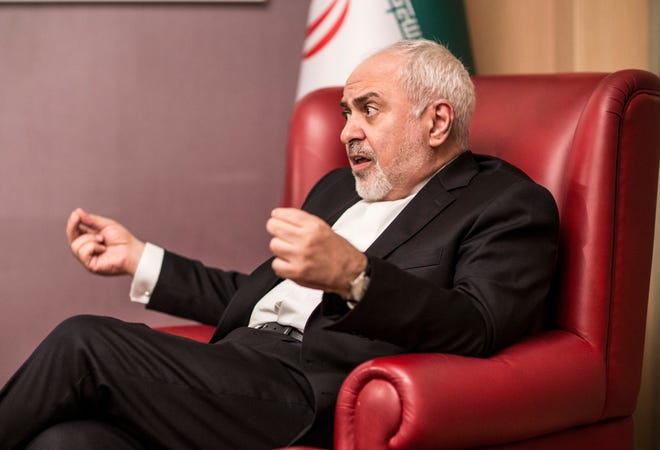Mohammad Javad Zarif, Iran's minister of foreign affairs, speaks with USA TODAY reporter Kim Hjelmgaard in Antalya, Turkey, on Saturday, Nov. 3, 2018.
