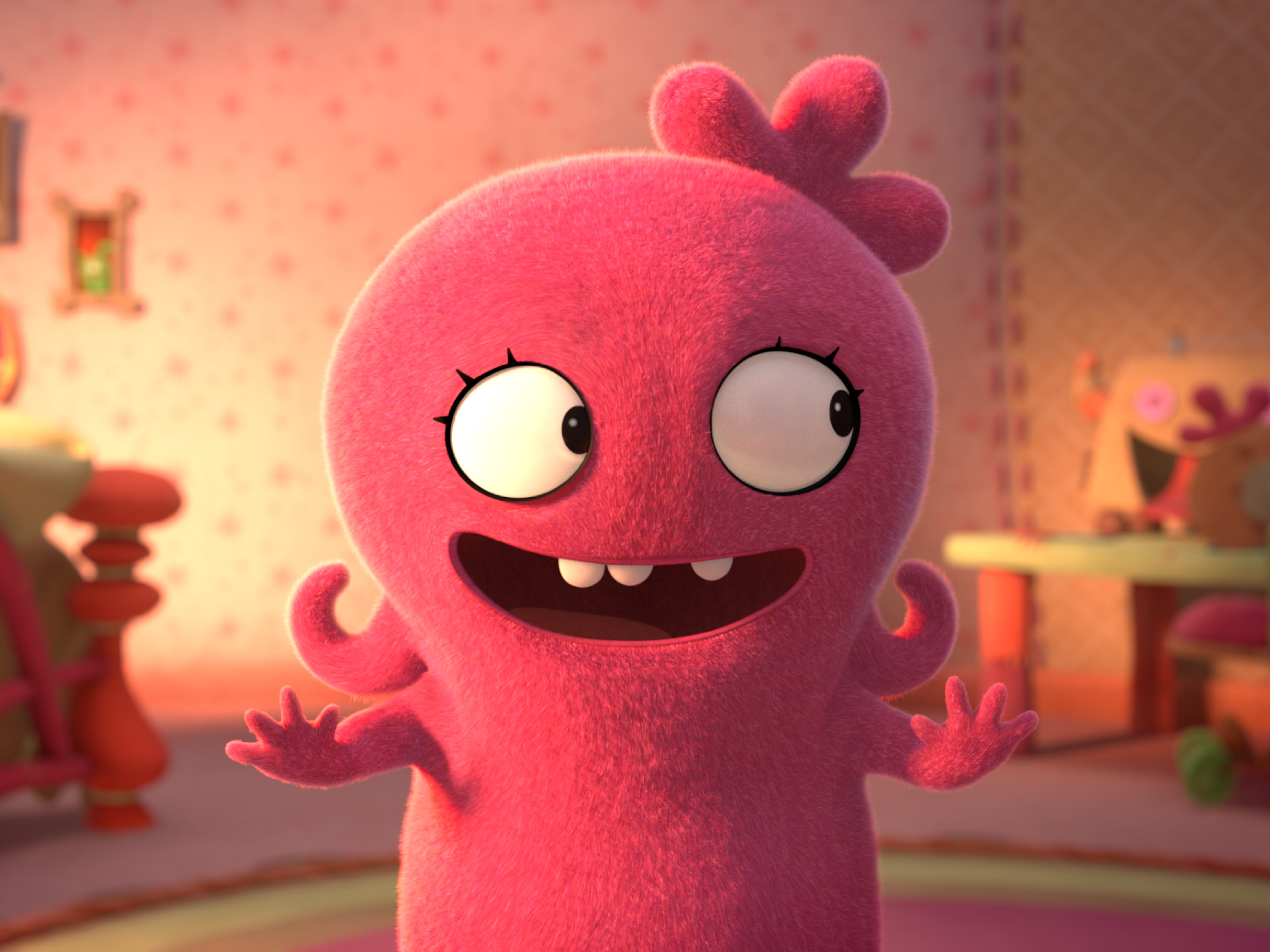 "Moxy, voiced by Kelly Clarkson, shown in her colorful bedroom. Moxy is the lead character in the upcoming movie ""UglyDolls"" (in theaters May 10). USA TODAY has an exclusive first look at the animated film."