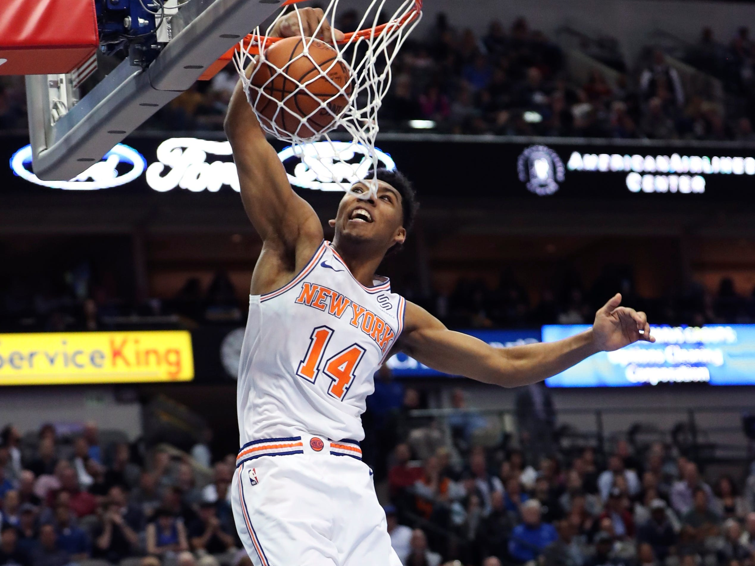 Nov. 2: Knicks rookie Allonzo Trier throws down a thunderous one-handed slam during the second half against the Mavericks in Dallas.