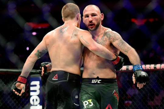 Matt Frevola of the United States (L) and Lando Vannata of the United States finish the fight in a draw in their lightweight bout during the UFC 230 event at Madison Square Garden on November 3, 2018 in New York City.  (Photo by Steven Ryan/Getty Images)