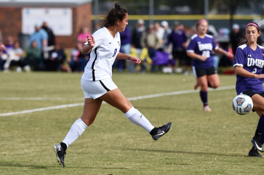 Hardin-Simmons forward Taylor Bernal (8) scores the game's only goal in the ASC tournament championship on Sunday at he HSU Soccer Complex. The Cowgirls won their 16th straight ASC tournament title with a 1-0 victory.