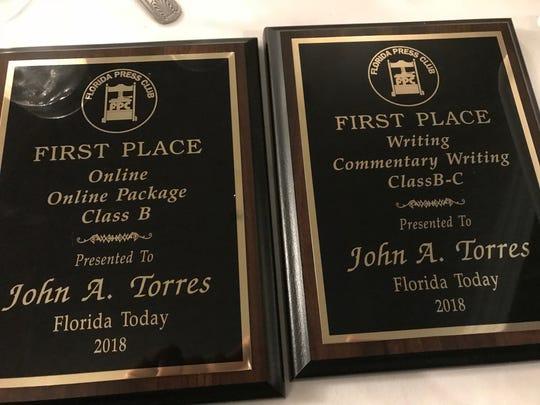 John A. Torres earns two awards at Florida Press Club