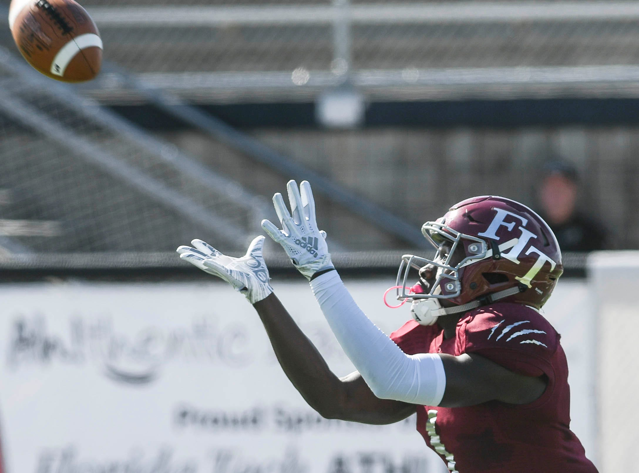Romell Guerrier of Florida Tech catches a touchdown pass during Saturday's game.