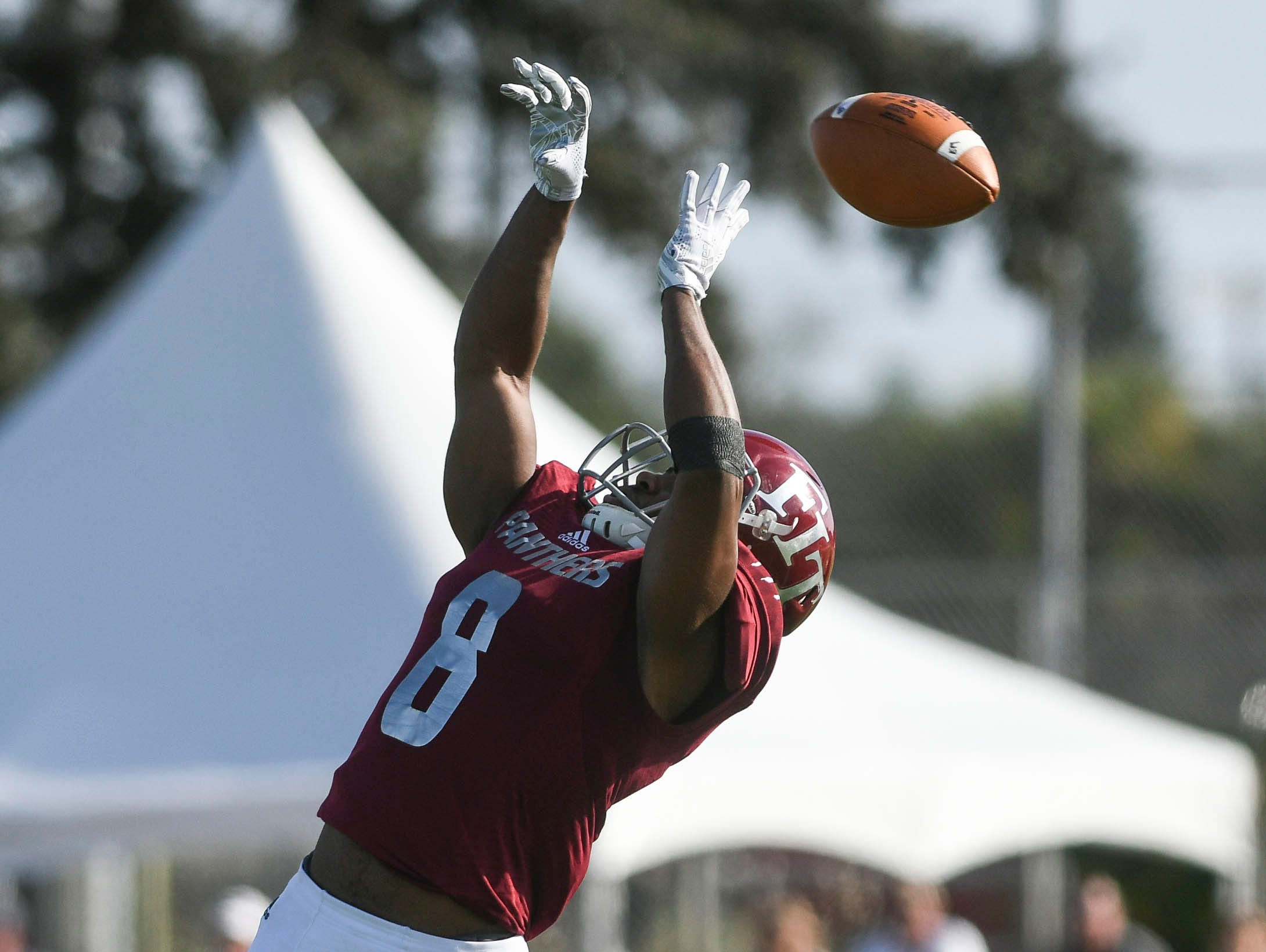 Malachi Timberlake of Florida Tech deflects a North Greenville pass during Saturday's game.