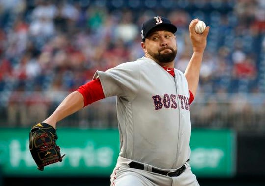 Boston Red Sox starting pitcher Brian Johnson throws during the first inning of an interleague baseball game against the Washington Nationals at Nationals Park Tuesday, July 3, 2018, in Washington.