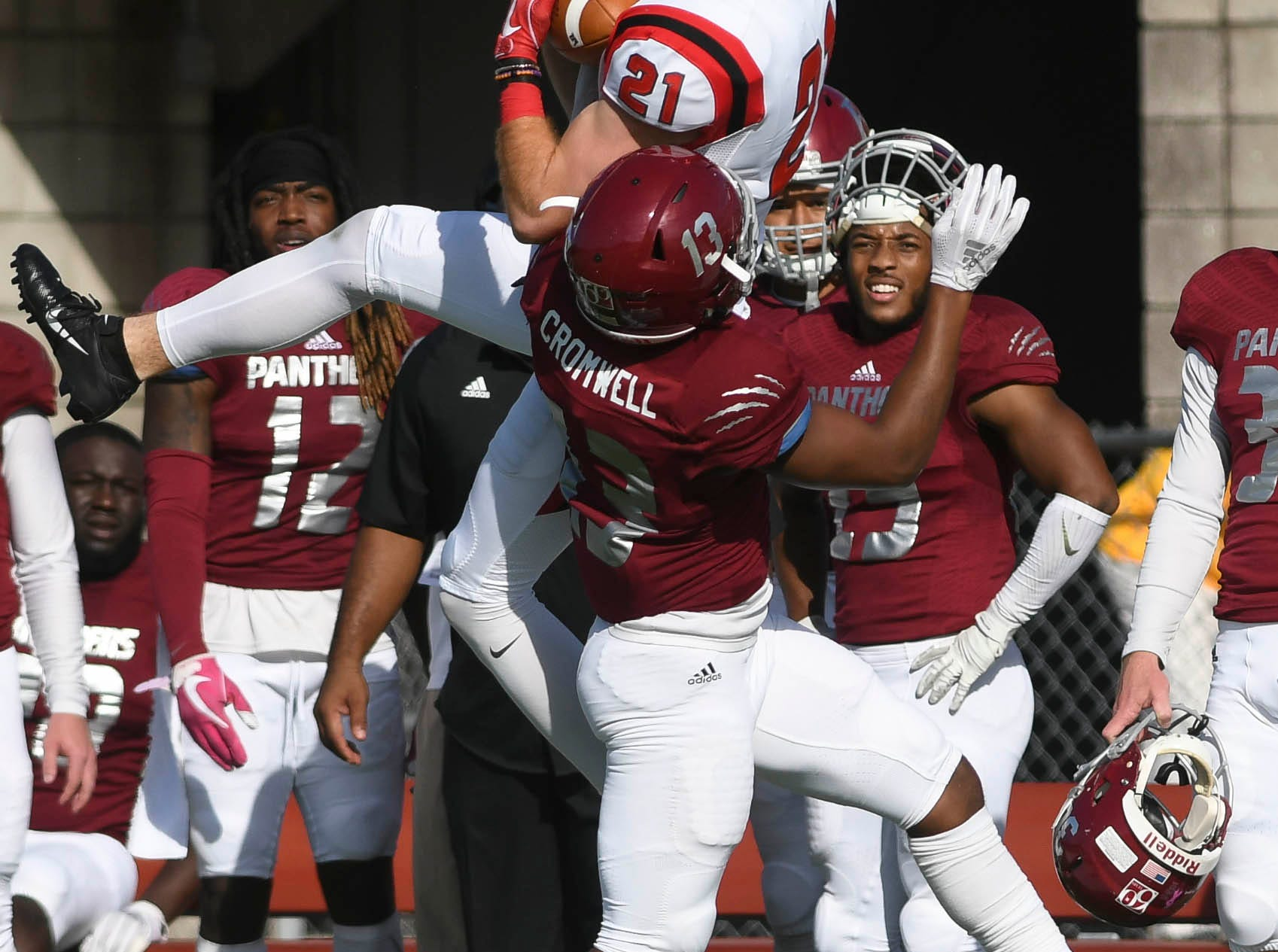 Tyrone Cromwell of Florida Tech breaks up a pass intended for Matthew Martin of North Greenville during Saturday's game.