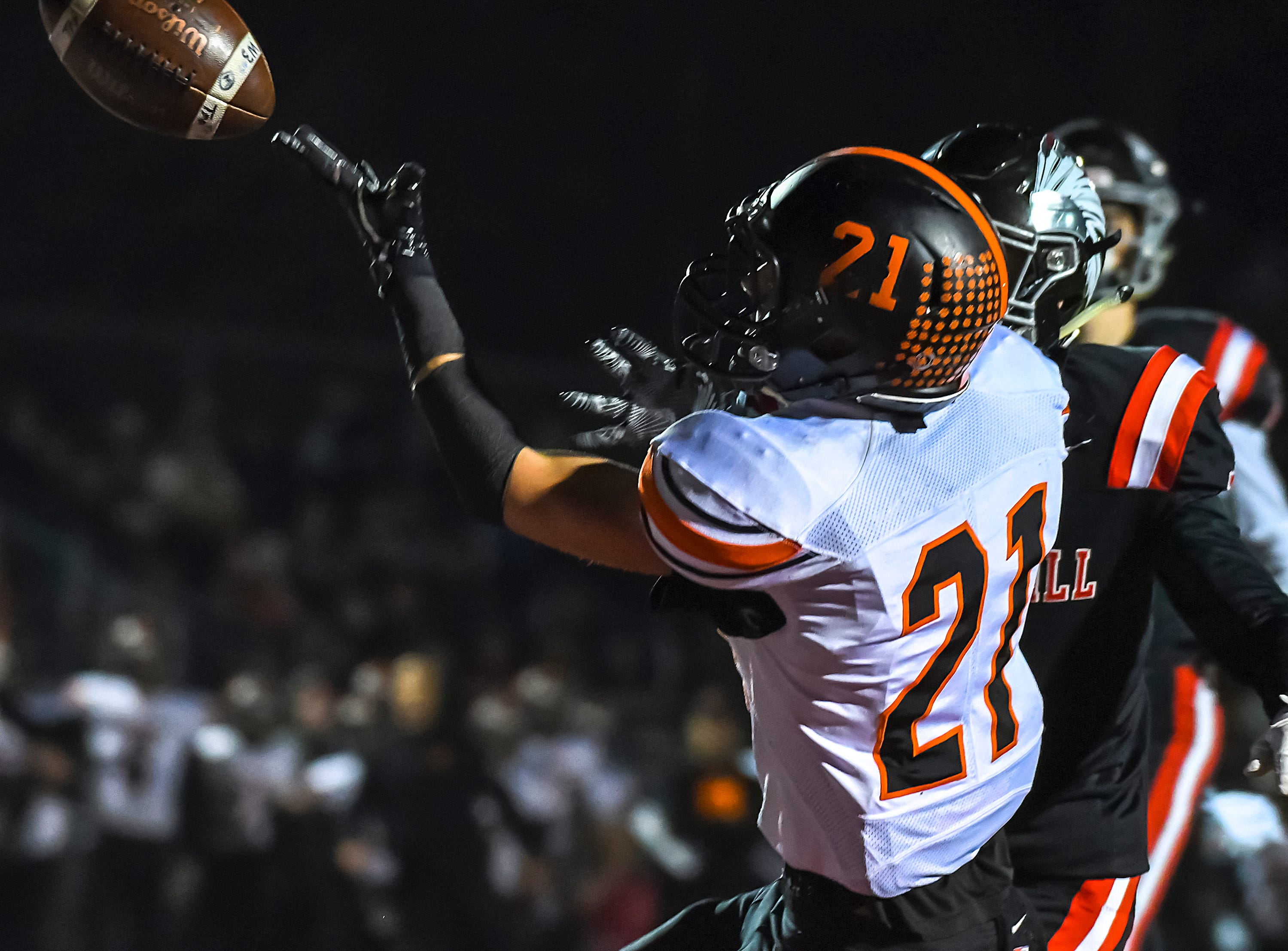 Waverly receiver Phoenix Wolf can't come up with a catch against Indian Hill in the OHSAA D4 Region 16 Playoffs at Indian Hill High School, Saturday, Nov. 3, 2018