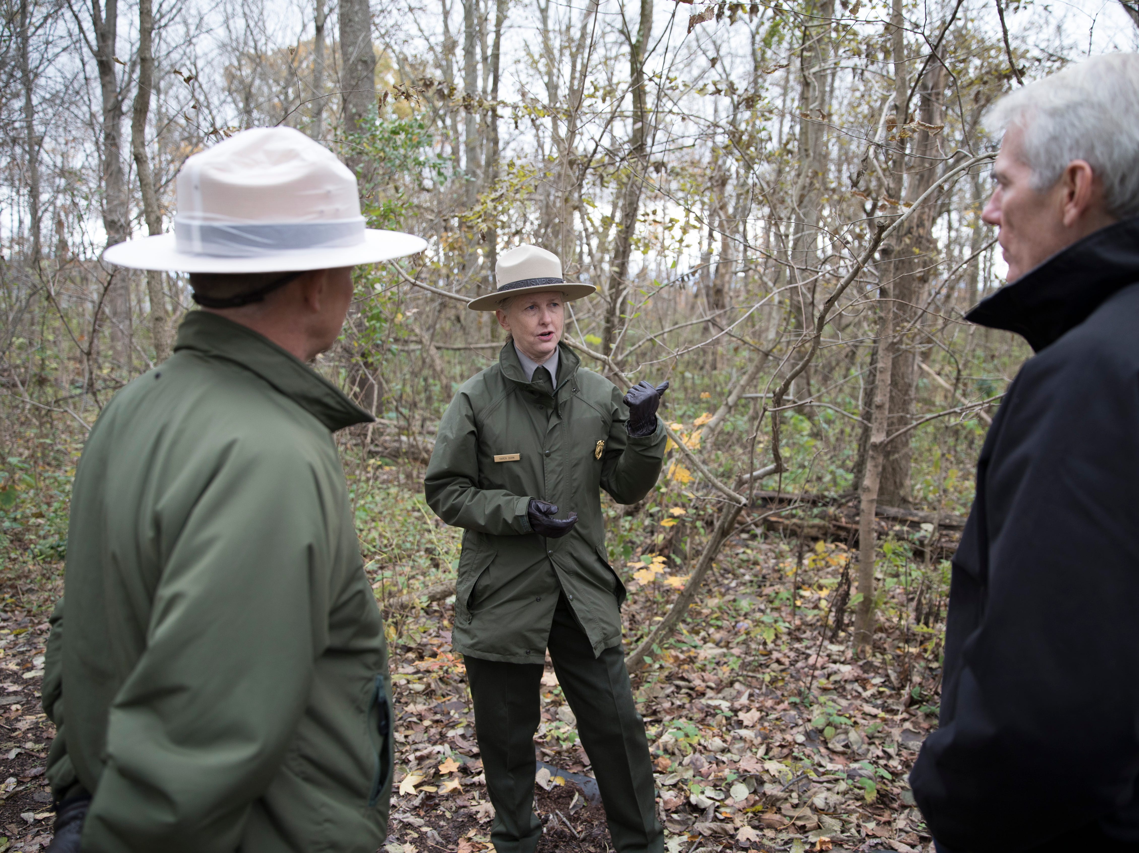 New Hopewell Culture National Historical Park superintendent Karen Dorn talks to Sen. Portman about the funding needs of the park and the importance of preserving such a crucial part of local history.