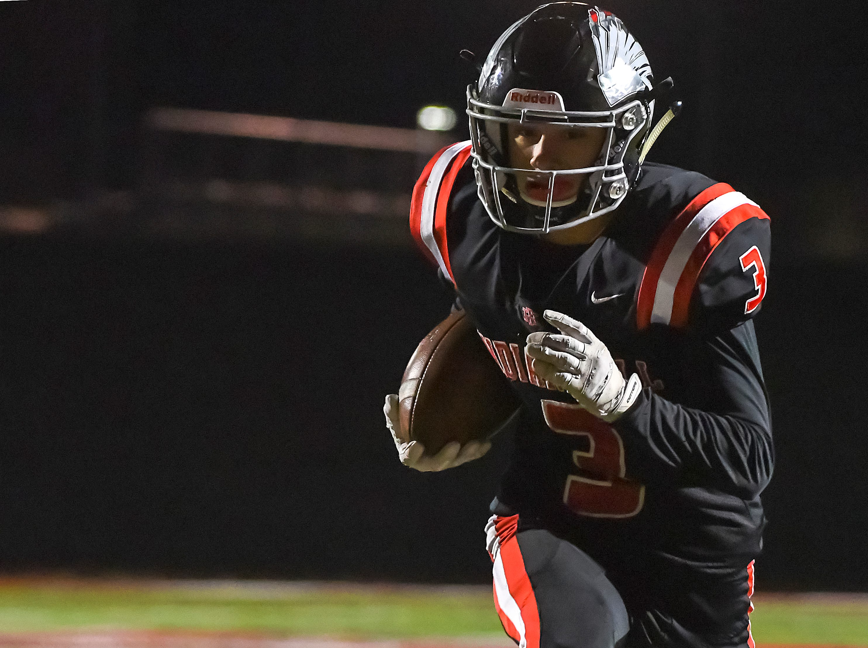 Trey Lopez of Indian Hill scores a touchdown against Waverly in the OHSAA D4 Region 16 Playoffs at Indian Hill High School, Saturday, Nov. 3, 2018