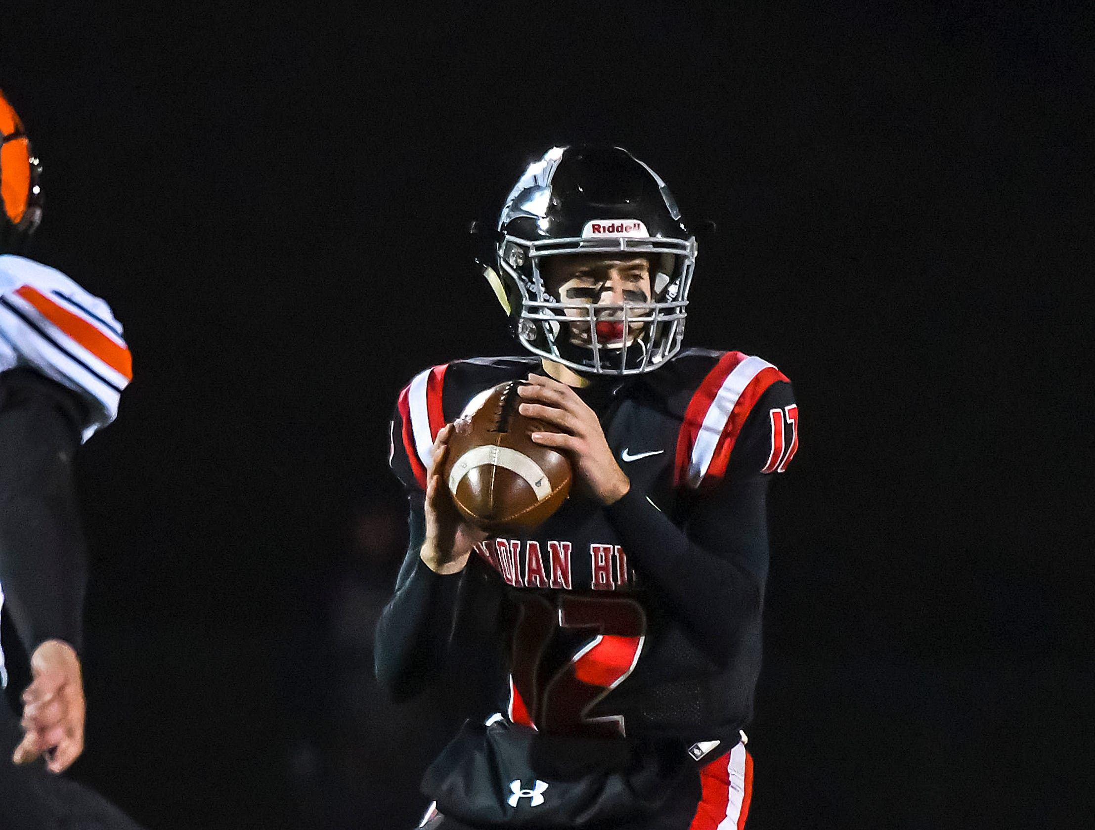 Indian Hill quarterback Cole Dein drops back to pass against Waverly in the OHSAA D4 Region 16 Playoffs at Indian Hill High School, Saturday, Nov. 3, 2018
