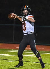 Haydn' Shanks of Waverly attempts a pass against Indian Hill in the OHSAA D4 Region 16 Playoffs at Indian Hill High School, Saturday, Nov. 3, 2018. Waverly went 9-2 and finished second in the SOC II last year, now they look to go deeper in the playoffs in 2019.