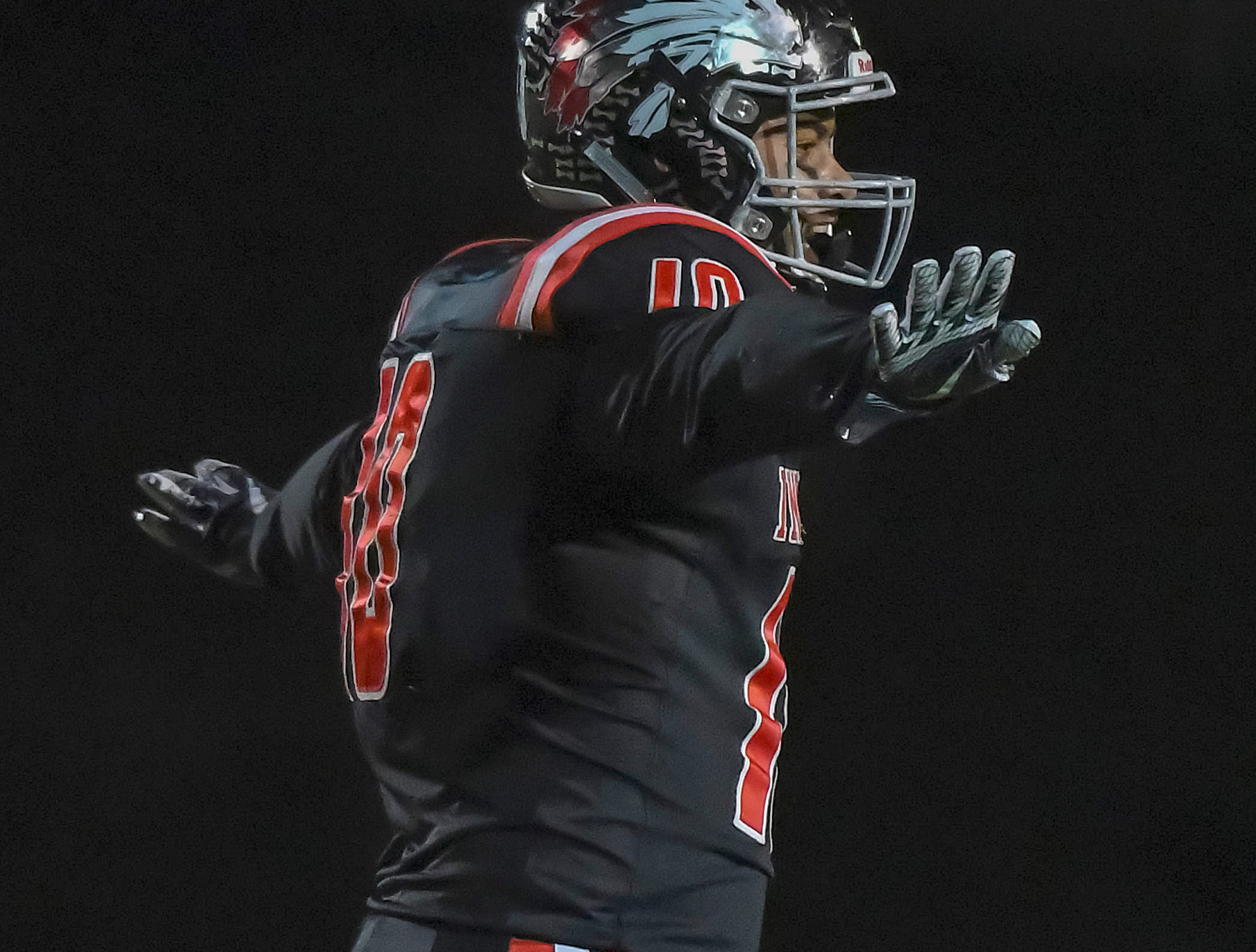 Jalen Thornton of Indian Hill celebrates after a sack against Waverly in the OHSAA D4 Region 16 Playoffs at Indian Hill High School, Saturday, Nov. 3, 2018