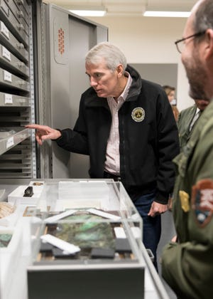 Senator Rob Portman checks out some of the artifacts kept at the Hopewell Culture National Historical Park in 2018 in Chillicothe, Ohio.