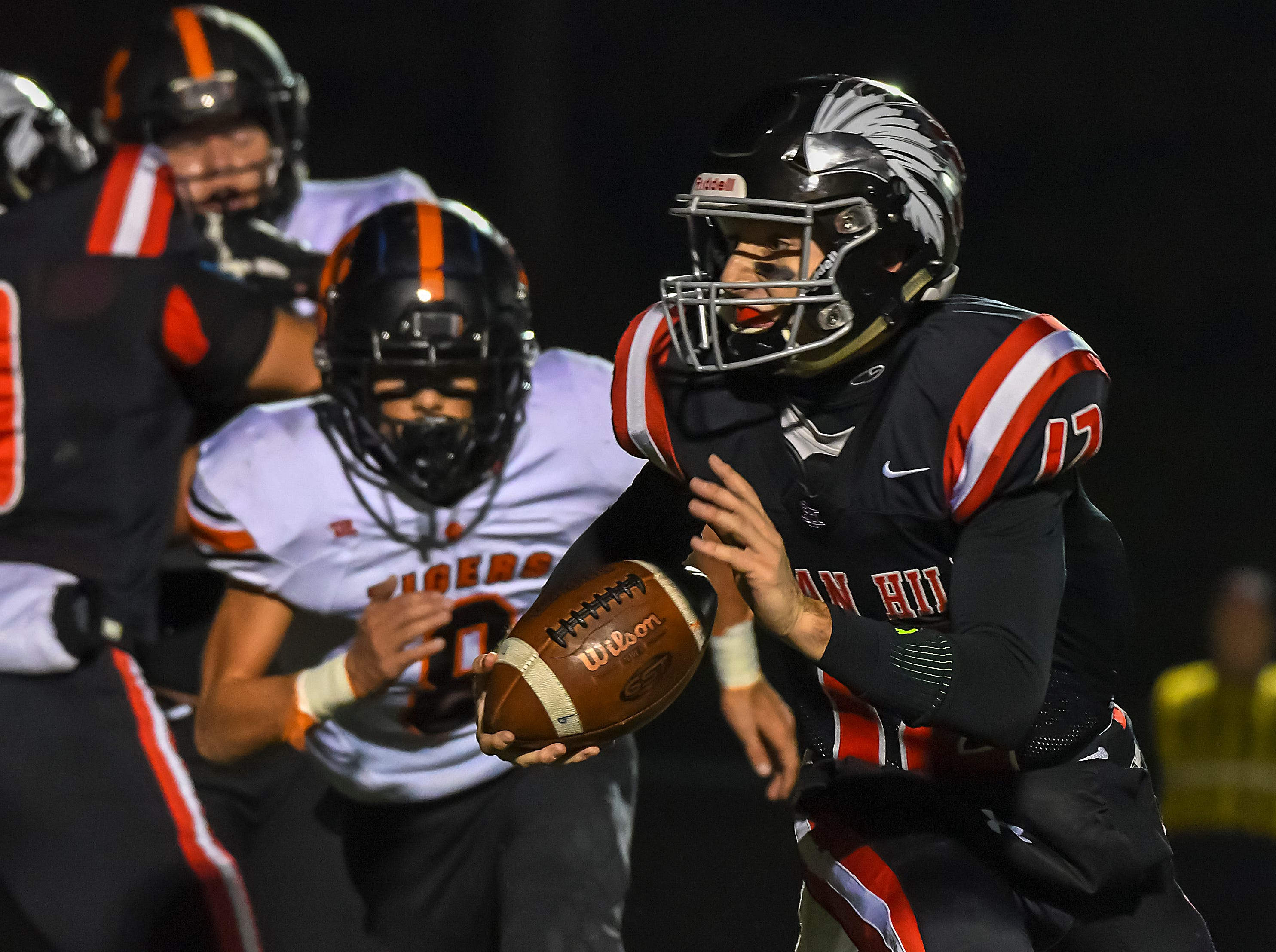 Indian Hill quarterback Cole Dein runs the ball against Waverly in the OHSAA D4 Region 16 Playoffs at Indian Hill High School, Saturday, Nov. 3, 2018