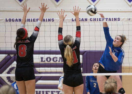 Skylar Hice spikes the ball in a 3-1 regional final loss to Tuscarawas Valley. Hice, who was the SVC and the District 14 Player of the year in 2018, looks to build on her success in the upcoming volleyball season.