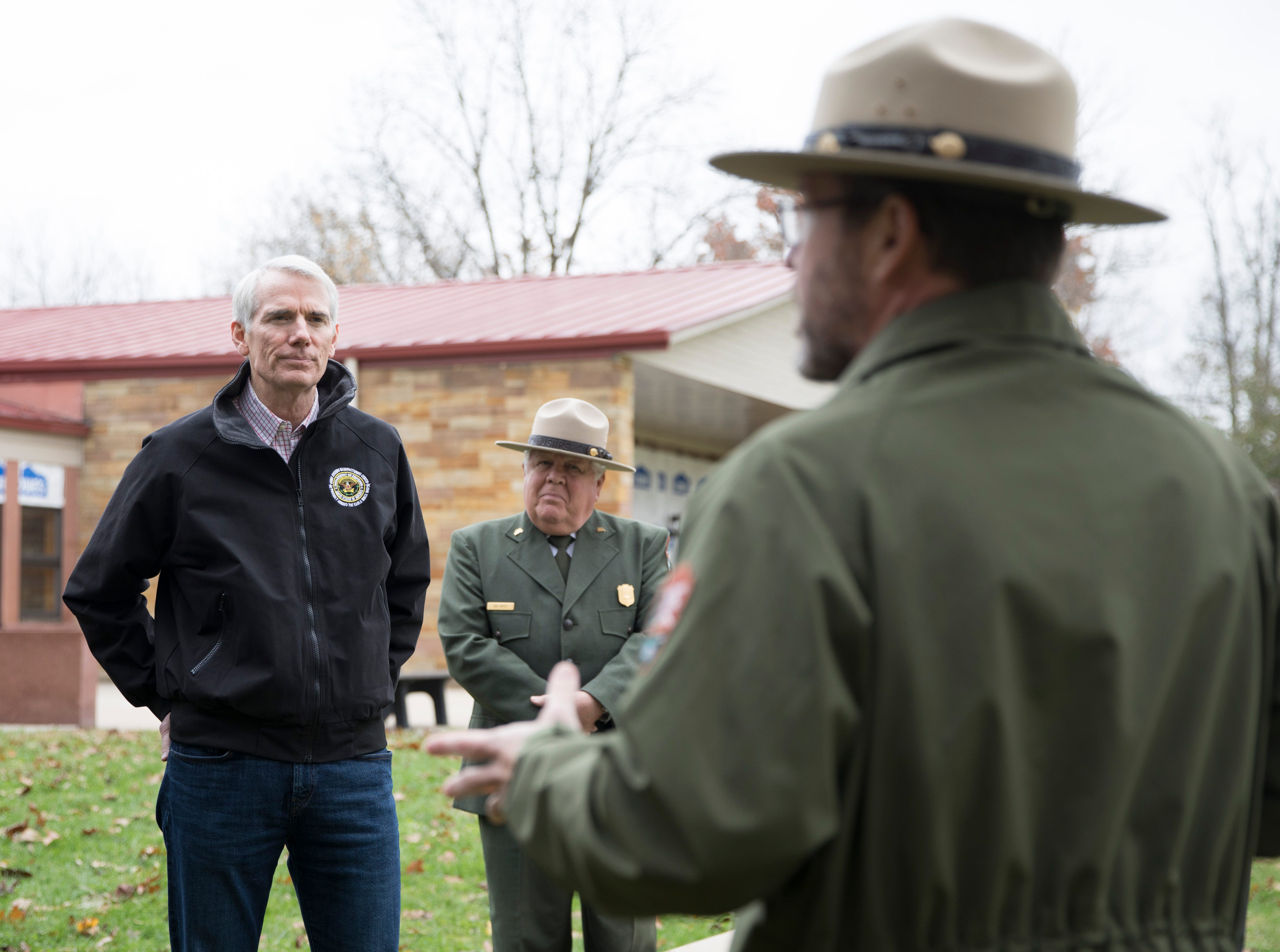 On Friday, Hopewell Culture National Historical Park superintendent Karen Dorn led U.S. Sen. Rob Portman, U.S. Rep. Brad Wenstrup and National Park Service Deputy Director P. Daniel Smith on a tour of the park to show some of its maintenance needs.