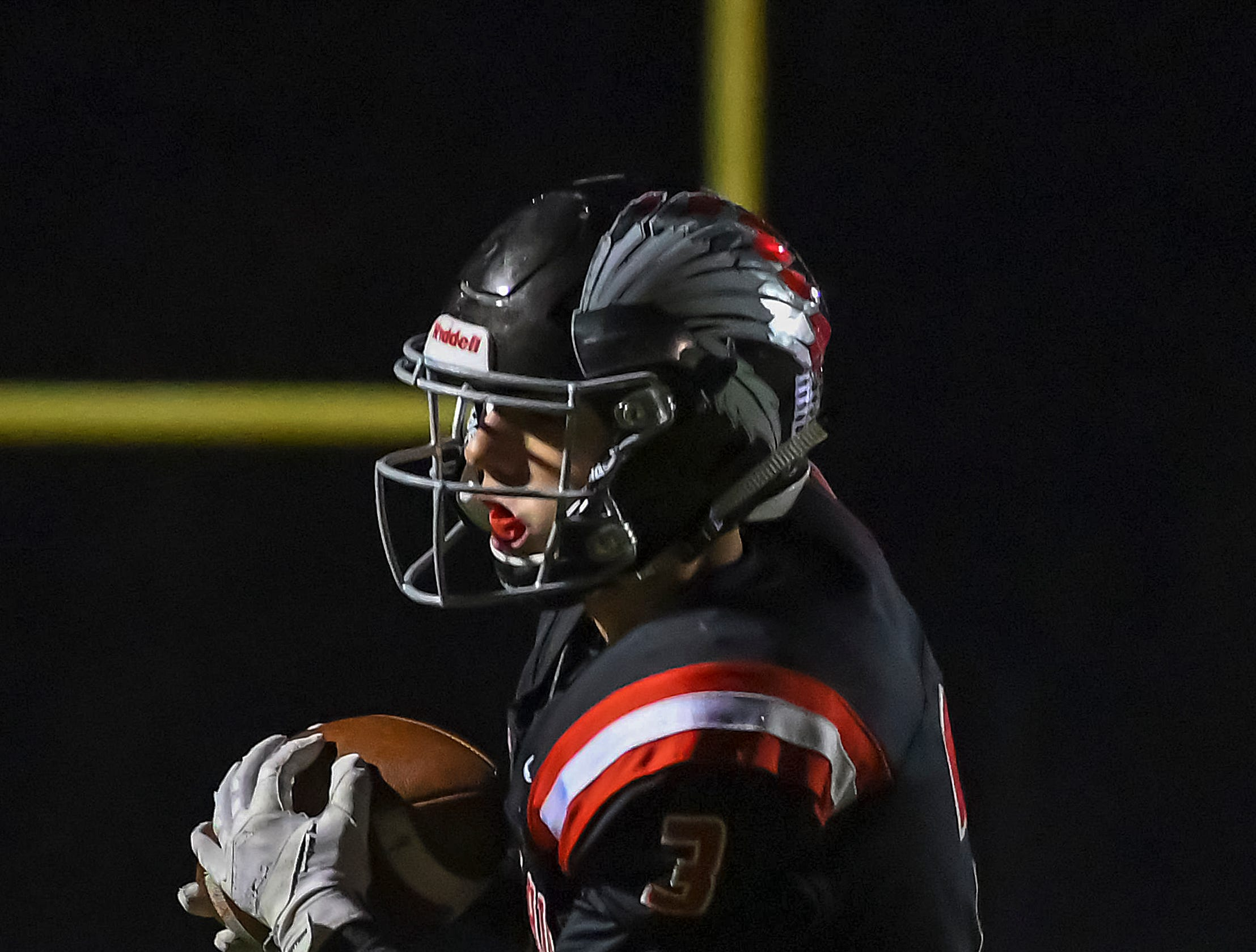 Trey Lopez of Indian Hill catches a pass against Waverly in the OHSAA D4 Region 16 Playoffs at Indian Hill High School, Saturday, Nov. 3, 2018