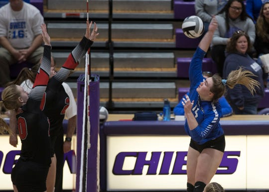 Skylar Hice spikes the ball in a 3-1 regional final loss to Tuscarawas Valley in 2018. Hice, who was the SVC and the District 14 Player of the year in 2018, looks to build on her success in the upcoming volleyball season.