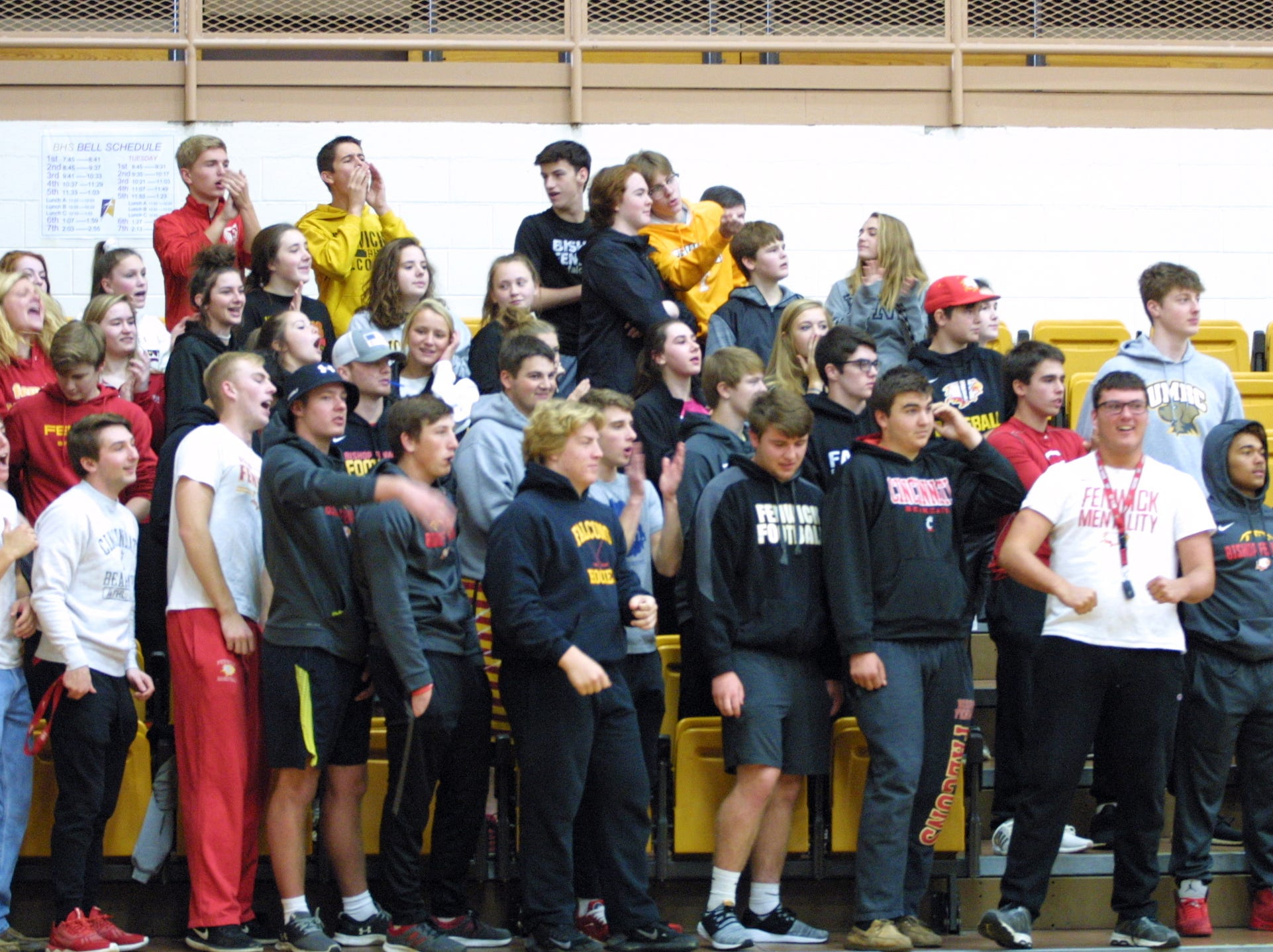 Bishop Fenwick fans cheer during their team's match against Roger Bacon in the regional final at Butler High School, Saturday, Nov. 3, 2018.
