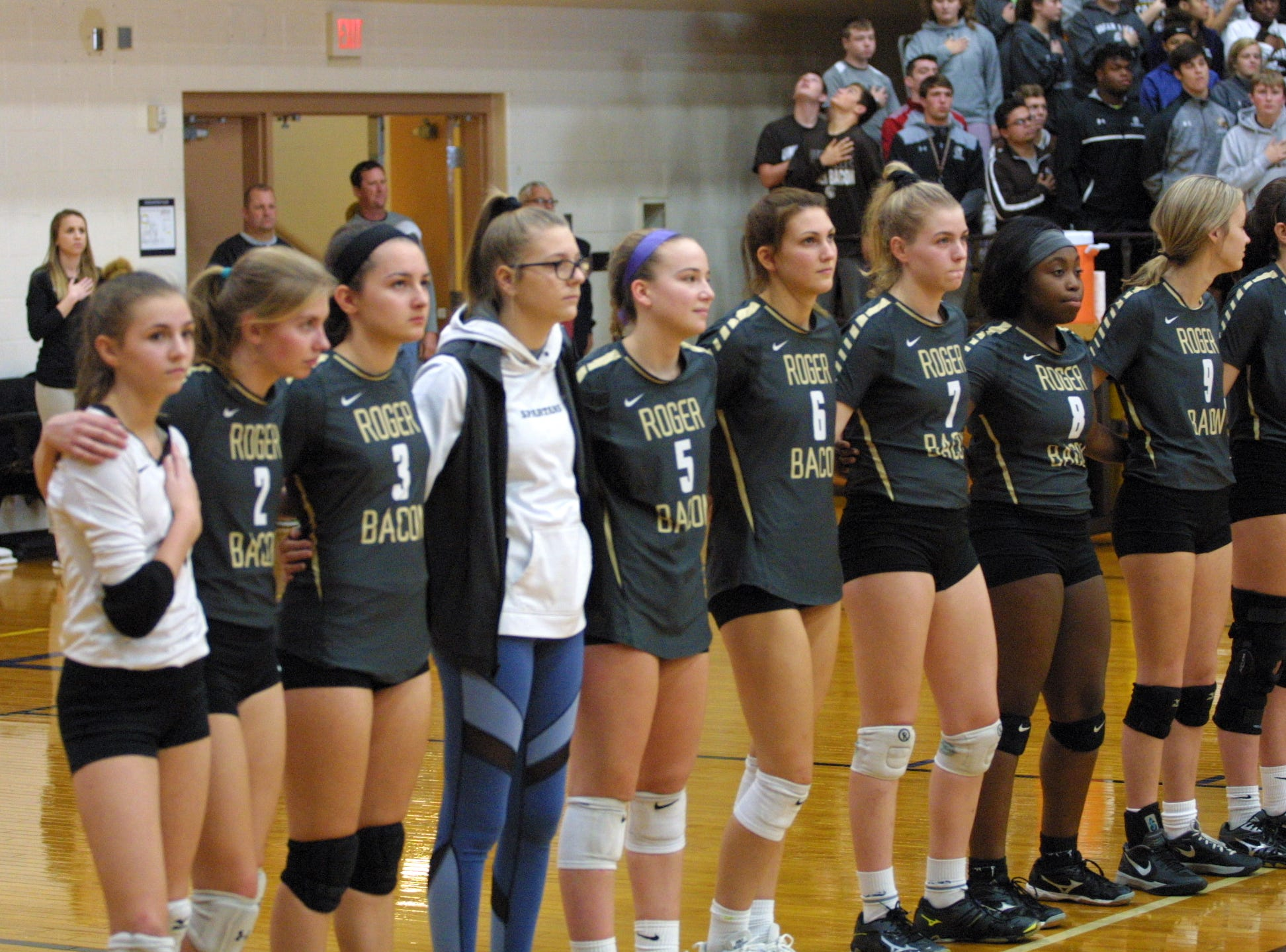 Roger Bacon players are announced before their team's match against Bishop Fenwick in the regional final at Butler High School, Saturday, Nov. 3, 2018.