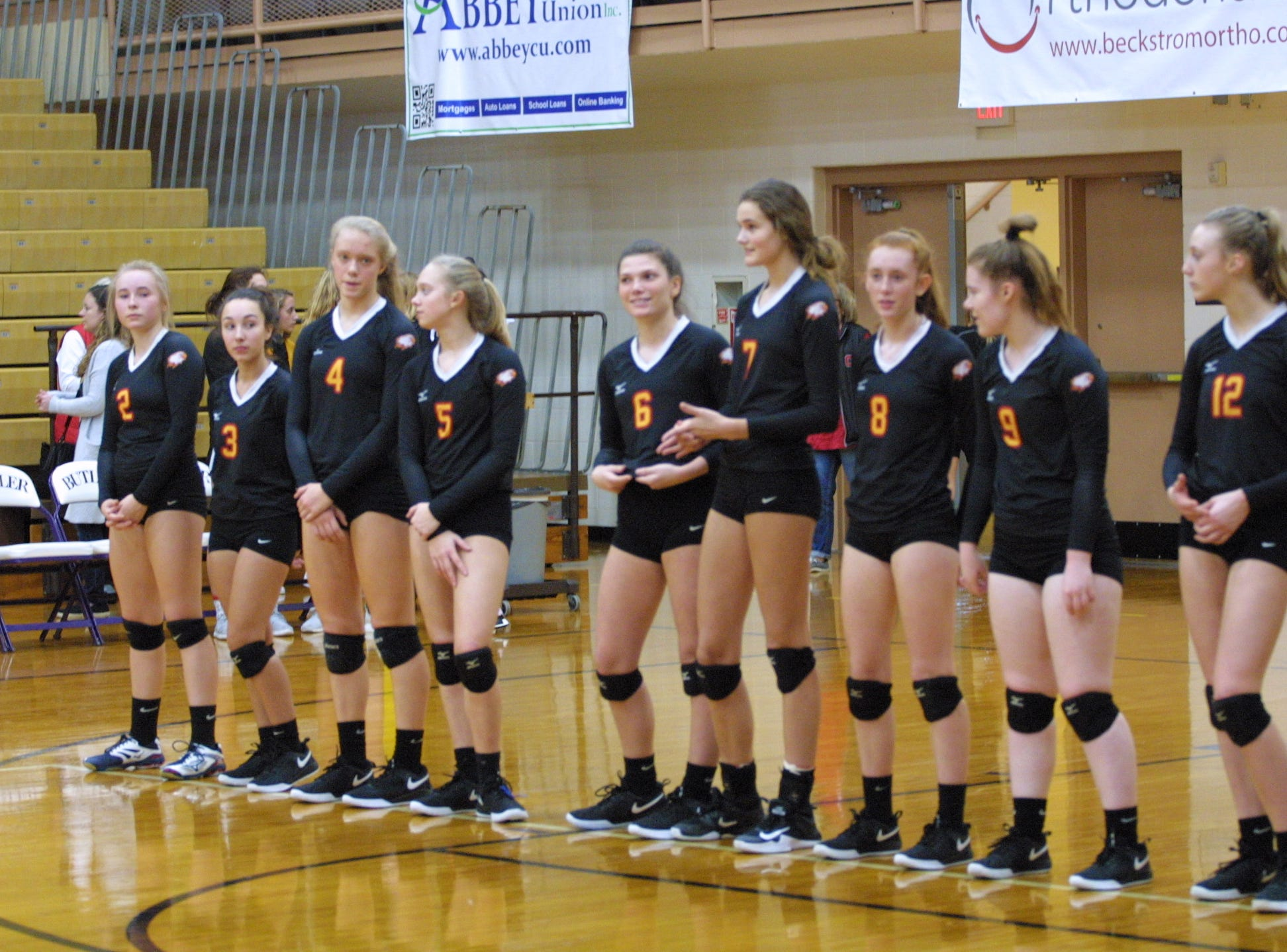 Bishop Fenwick players are announced before their match against Roger Bacon in the regional final at Butler High School, Saturday, Nov. 3, 2018.