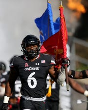 Cincinnati Bearcats linebacker Perry Young (6) takes the field before a college football game between the Navy Midshipmen and the Cincinnati Bearcats, Saturday, Nov. 3, 2018, at Nippert Stadium in Cincinnati.