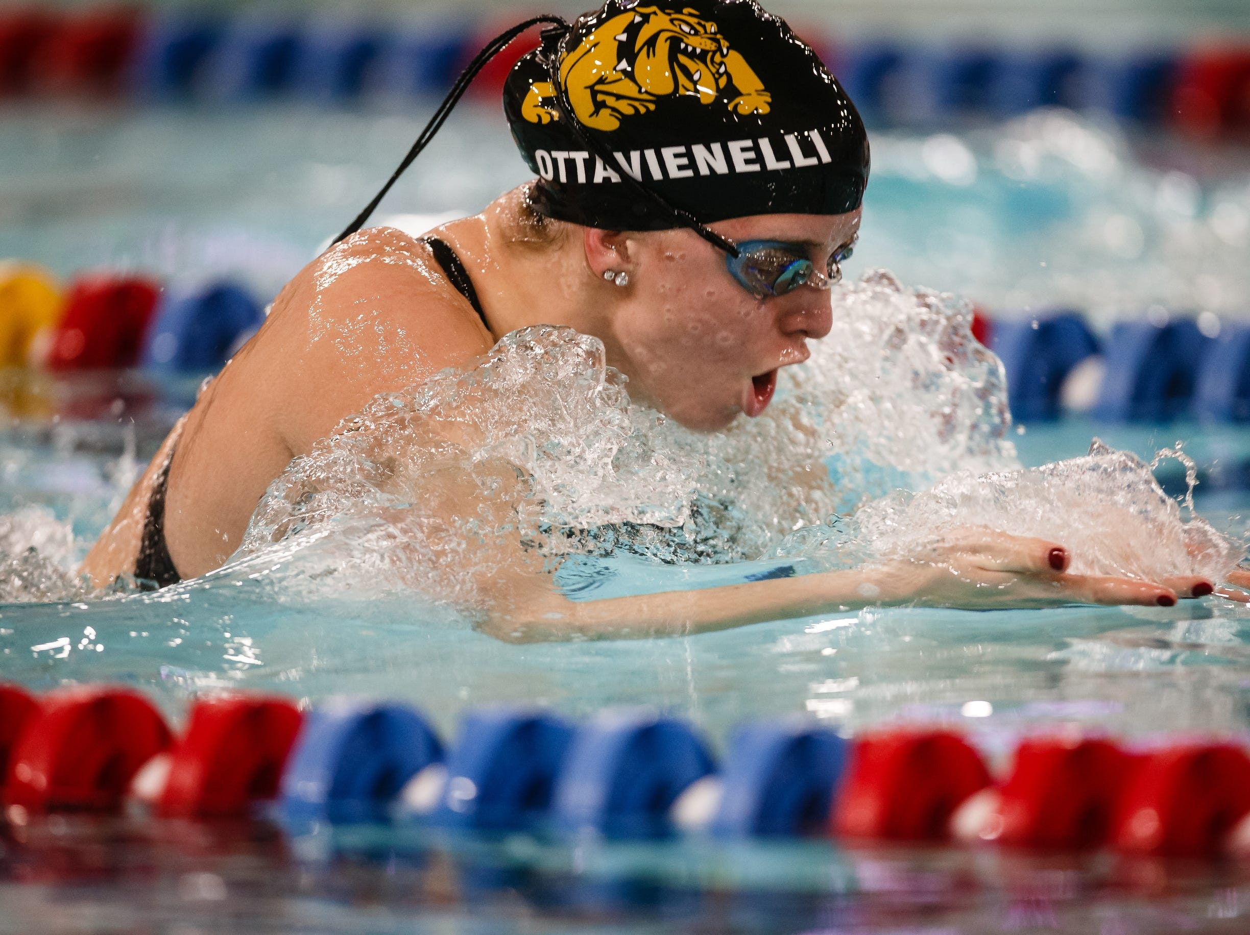 Bettendorf's Arianna Ottavianelli competes in the 100 yard breaststroke at the Iowa girls state swimming meet on Saturday, Nov. 3, 2018, in Marshalltown.