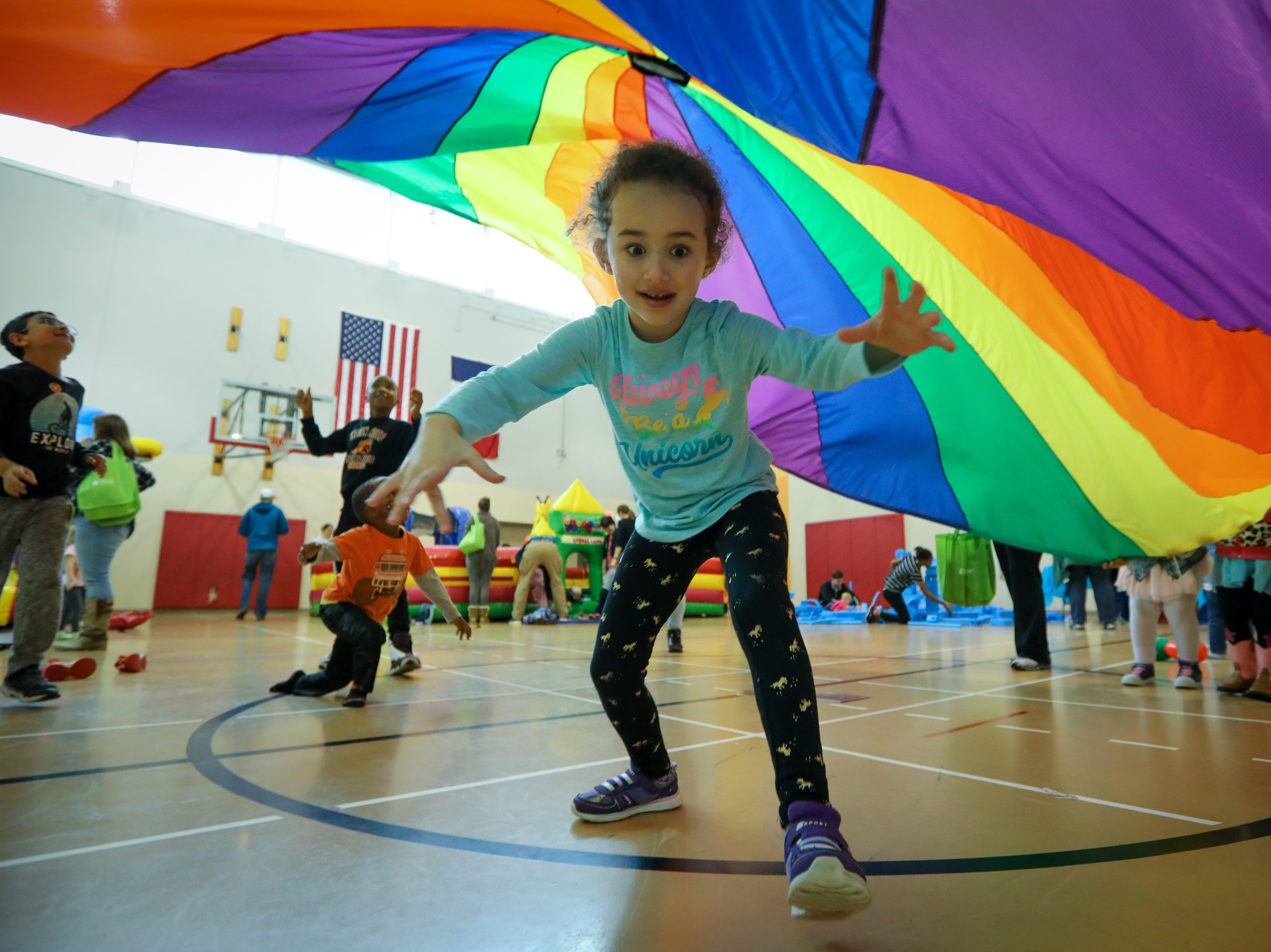 Maryam, 5, of West Des Moines participates in the Preschool Palooza at Hillside Elementary School on Saturday, Nov. 3, 2018 in Des Moines, Iowa.