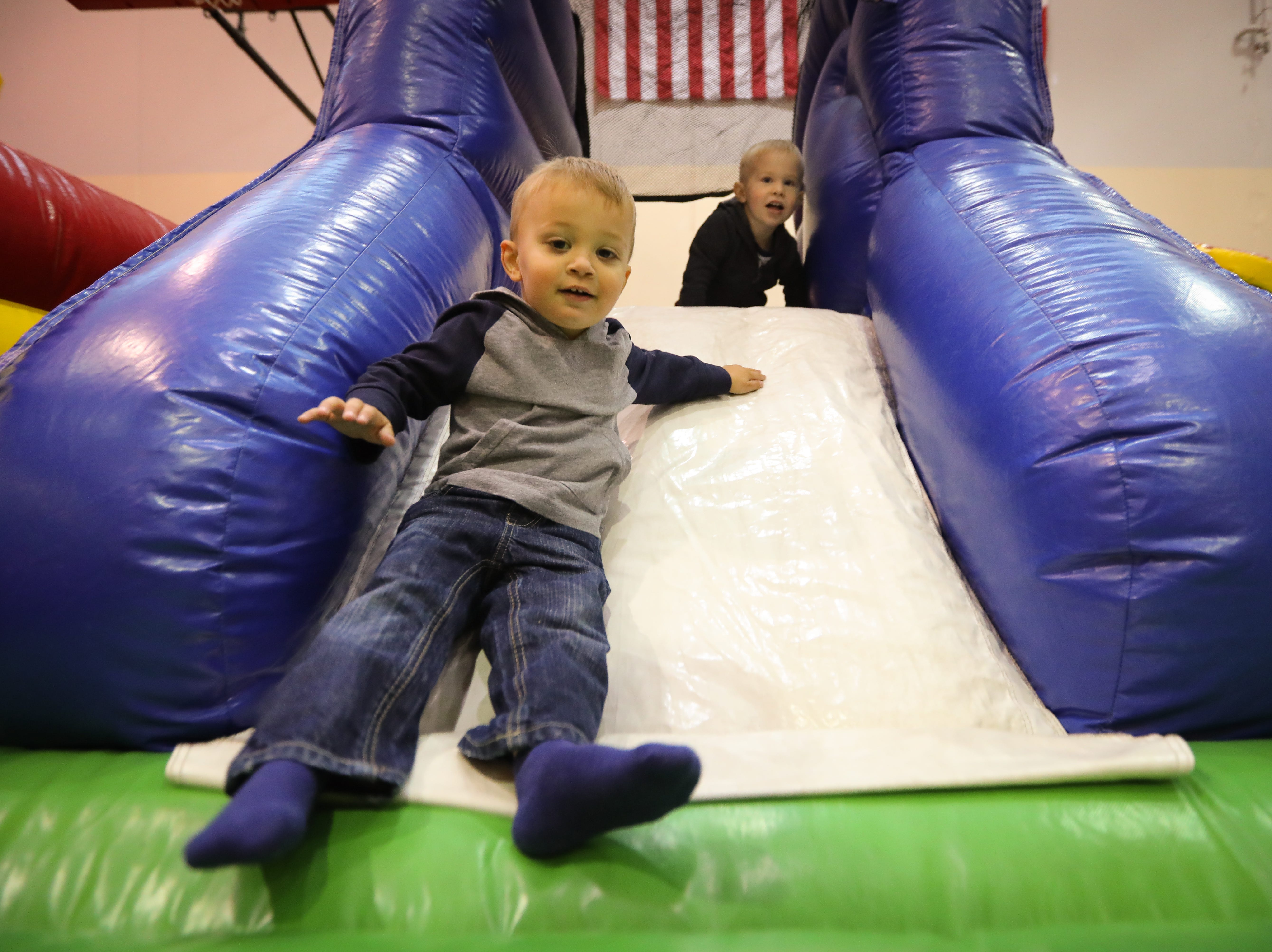 Boden, 2, of West Des Moines participates in the Preschool Palooza at Hillside Elementary School on Saturday, Nov. 3, 2018 in Des Moines, Iowa.