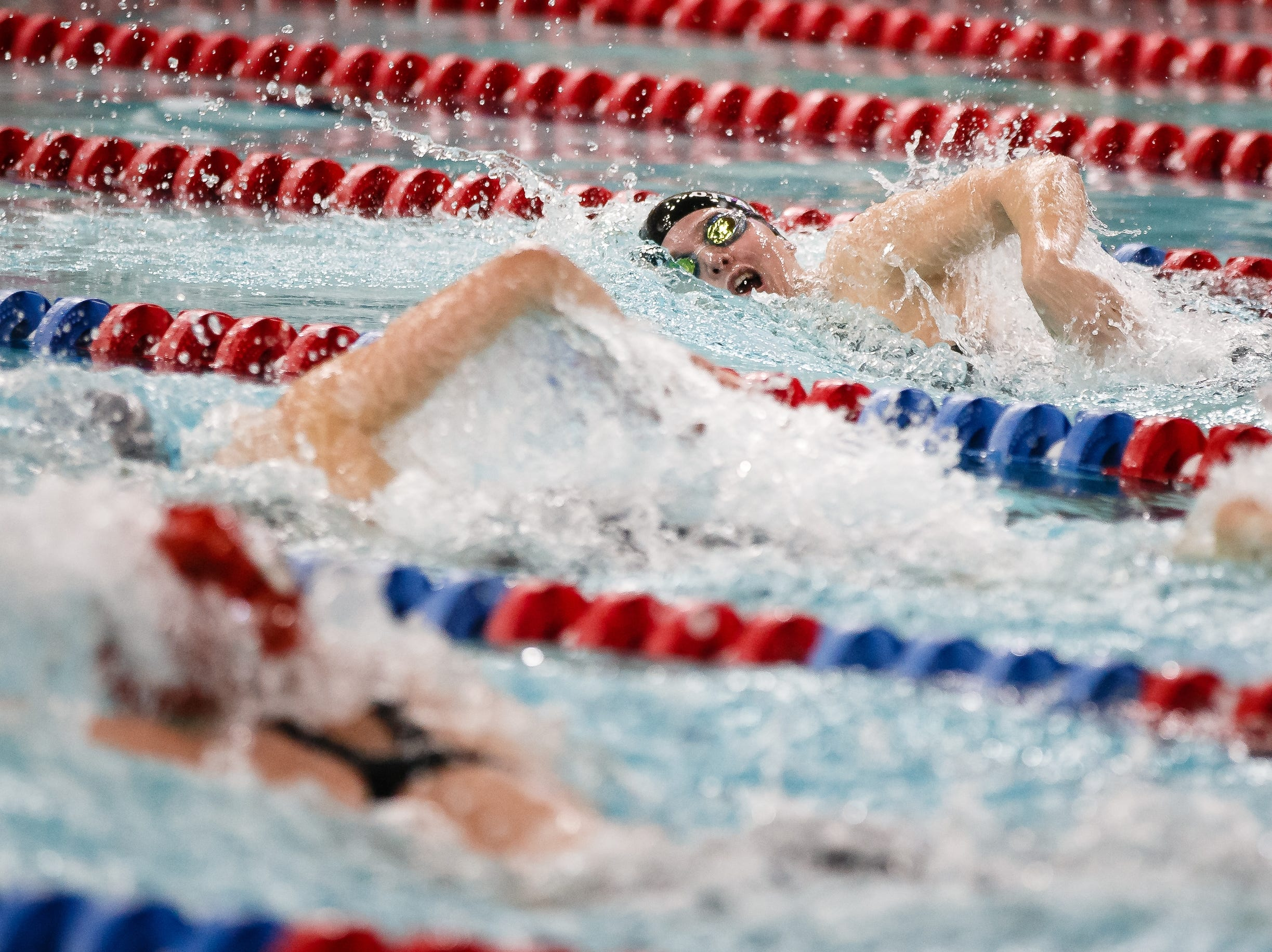 Bettendorf's Arianna Ottavianelli competes in the 200 yard IM at the Iowa girls state swimming meet on Saturday, Nov. 3, 2018, in Marshalltown.