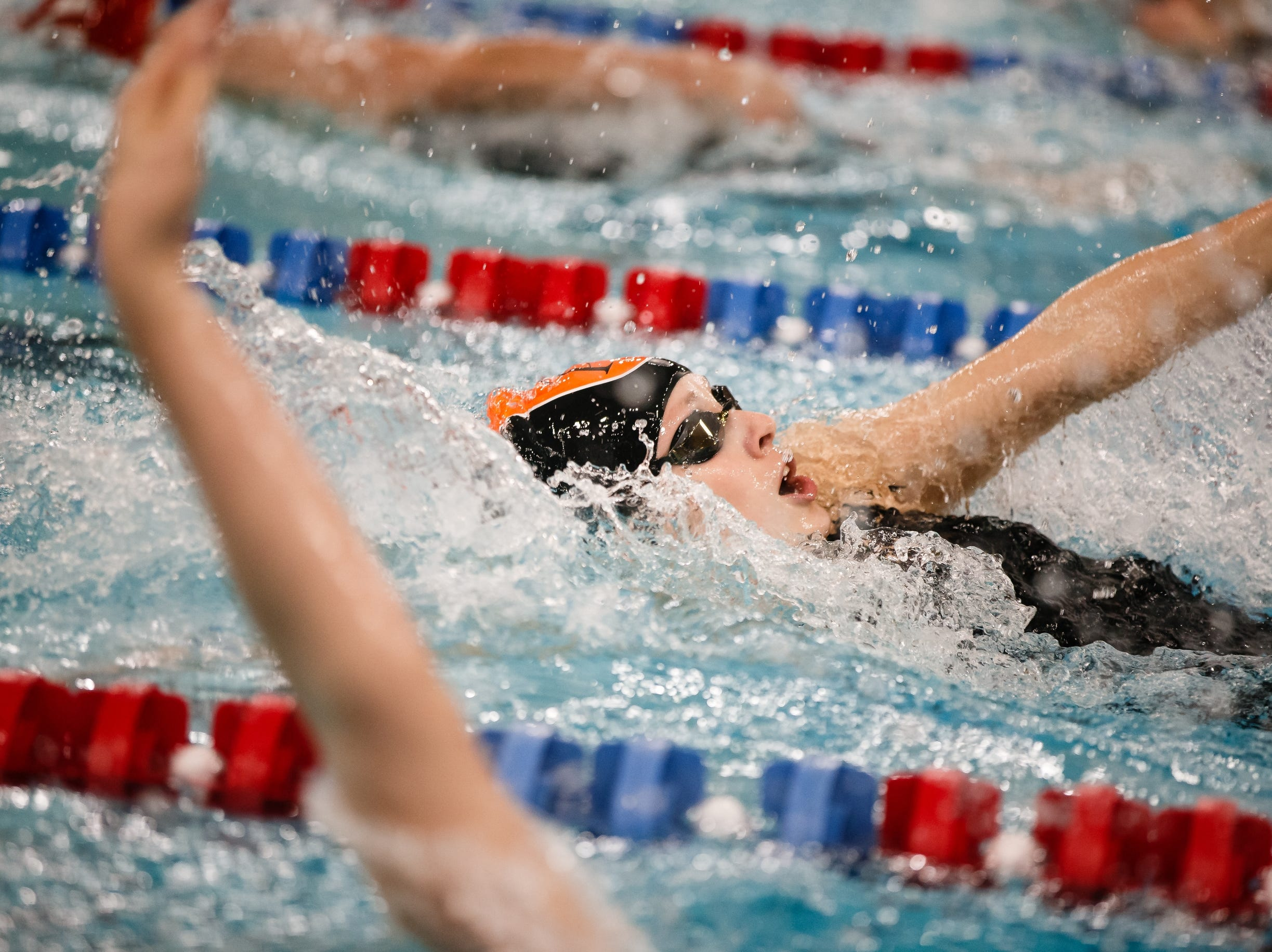 Ames' Molly Winer competes in the 200 yard IM at the Iowa girls state swimming meet on Saturday, Nov. 3, 2018, in Marshalltown.