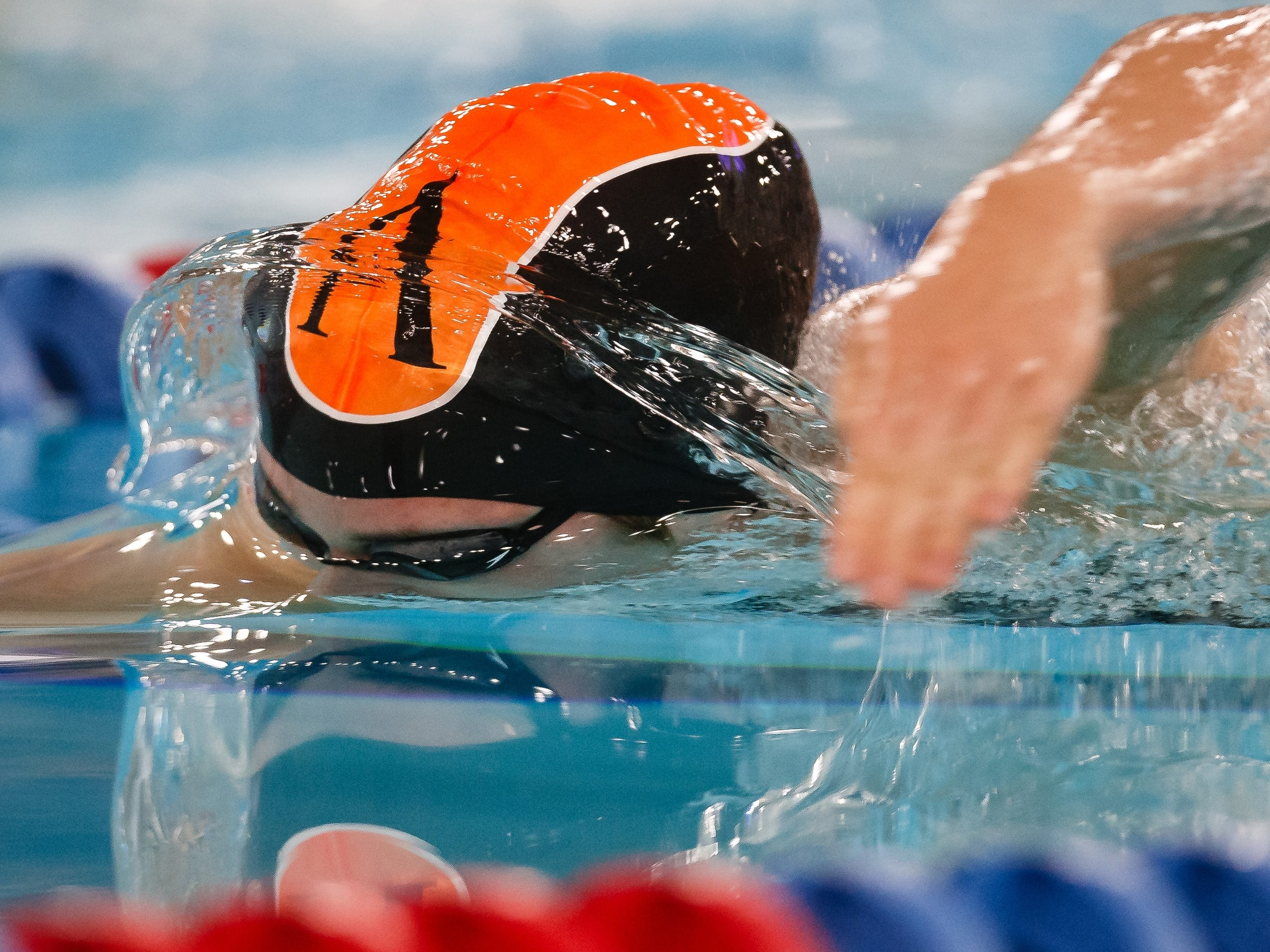 Ames' Brinley Horras competes in the 500 yard freestyle event at the Iowa girls state swimming meet on Saturday, Nov. 3, 2018, in Marshalltown.