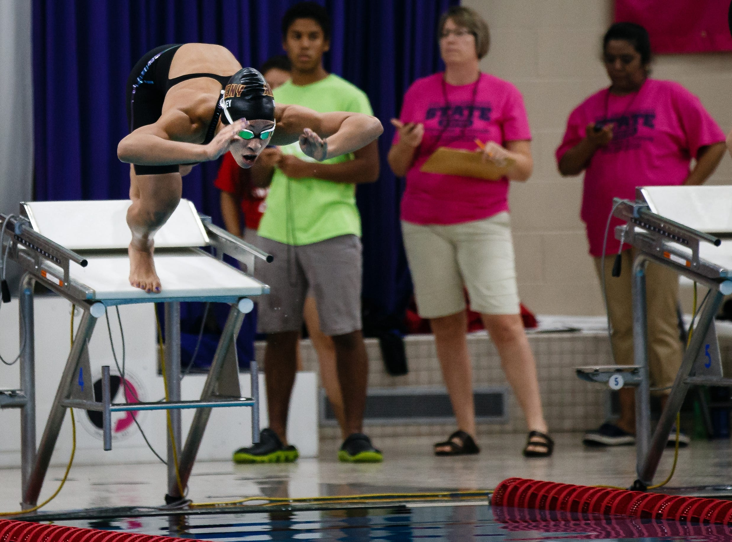 Jasmine Rumley from Ankeny competes in the 50 yard freestyle at the Iowa girls state swimming meet on Saturday, Nov. 3, 2018, in Marshalltown.